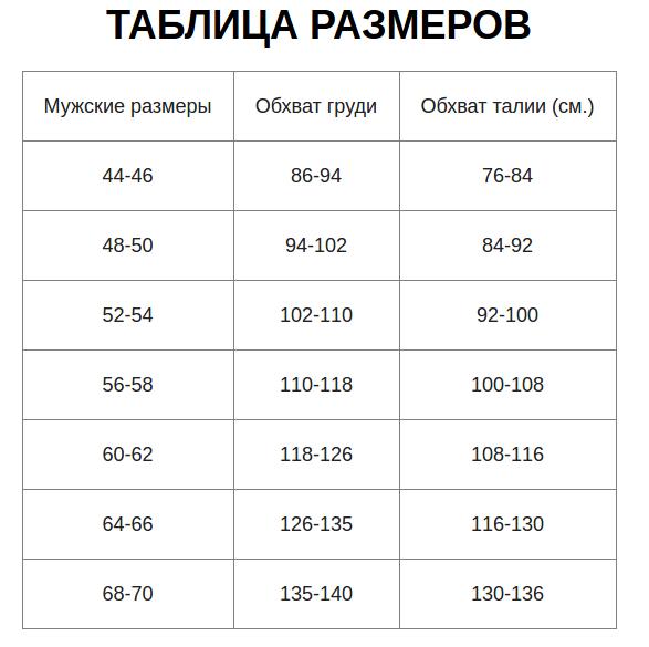 Таблица размеров костюма